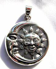 Plata Esterlina (925) Colgante de Luna Sol en (7.5 gramos)!!! Nuevo!!!