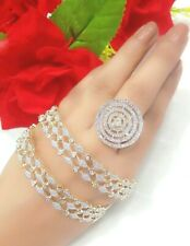 India Pakistan Bollywood American Diamond Bracelet  With Adjustable Ring Gift
