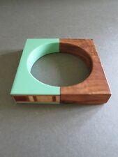 Vintage Teak Lucite Square Bangle Bracelet Unusual Piece