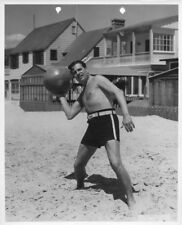 Warner Baxter Bare Chested Workout Medicine Ball Original Stamped Photo Malibu