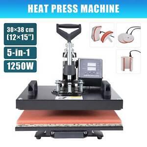 CRENEX 5in1 38x30cm Heat  Press  Machine T-Shirt MugHatCapPlate Transfer Printer