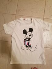 UNIQLO MICKEY MOUSE DISNEY SHIRT WHITE STARS STRIPES AMERICAN FLAG FREE SHIP MED