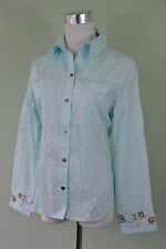 CECIL Design Womens Casual Fashion Blue Embroidery Classic Cotton Shirt sz S O61