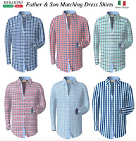 Berlioni Italy Men's & Boys Premium Yarn Dyed Luxe Cotton Dress Shirt Modern Fit