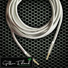 Audio cable-  1 meter 3.5mm male to male silver nylon braided w/ metal plugs