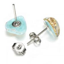 Women Natural Stone Turquoise Heart Shape Ear Stud Earrings Jewelry 1pair FT