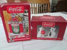 Coca-Cola Lot 2 Sets Salt & Pepper Shakers Polar Bear Cubs & Jukebox EXCELLENT!