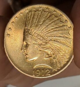 1912 $10 U.S. GOLD Indian - fresh from old collection - guarantee authentic- 90%