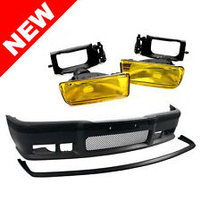 BMW E36 3-Series 92-98 M3 Style Front Bumper Cover + Lip + Yellow Fog Lights