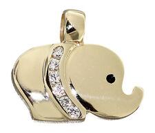 Anhänger Elefant Gold 585 echt Gelbgold 14 Karat Zirkonias Glücksbringer