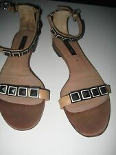 Vintage Sergio Rossi runway flat sandals ankle straps