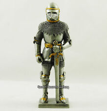 Medieval Knight in Bascinet Helmet with Sword Figurine Statue Pewter Ornament