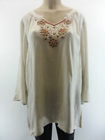 LANE BRYANT Beige Beaded Gold Embellished Blouse Top Plus Size 14-28