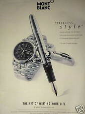 PUBLICITÉ STYLO MONTBLANC STAINLESS STYLE THE ART OF WRITING YOUR LIFE