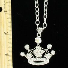 Crown Pendant Necklace with Clear Crystals
