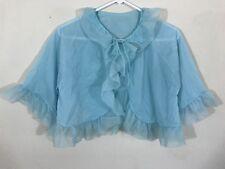 Vintage Pandora Lingerie Ruffled Light Blue Bed Jacket Small Tie Front Sheer