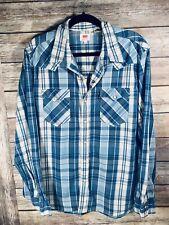 Levis Plaid Blue Pearl Button Snap Shirt Mens XXL