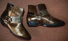 ❄️ New Designer Schutz 4 Gold Bronze leather cowgirl boots metal band shoe