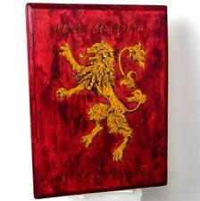 """11.5"""" Game Thrones GoT Hand Burnt & Dyed House Lannister Lion Sigil Wood Plaque"""