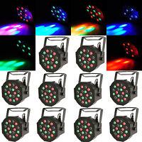10Pcs DJ/Disco Par Light 18 LED RGB DMX-512 Stage Lighting Party Xmas Club Show