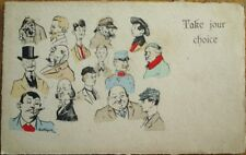 Artist-Signed Risque 1903 French Postcard: Take Your Choice of Men