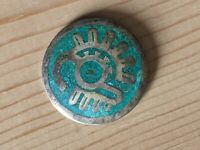 Text Vintage Taxco Mexico Sterling Silver Turquoise Inlay Brooch Pin