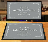 Personalised Wedding Day with any name & date Grey Laurel bar runner party mat
