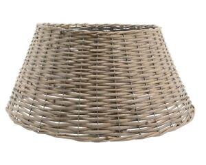 Grey Round Wicker Christmas Tree Skirt Tree Decor Base Floor Basket 57cm x 28cm