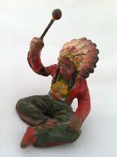 Lineol Elastolin Hausser Indian Warrior Chief Drummer 🥁 Sitting Bull Feather