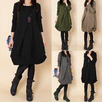 M-5XL Women Autumn Long Sleeve Winter Tunic Loose Pullover kaftan Short Dress
