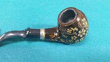 Chang Feng Ornate Wood Tobacco Pipe Carved Gold Floral Design