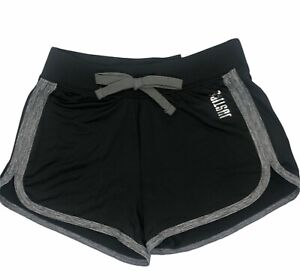 NWT JUSTICE Black & Gray Trim Dolphin Active Shorts Size 8