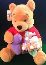 "Disney Store Jumbo Heart & Flower Pooh 12"" Plush w/Tee T-Shirt Toy Collectible!"