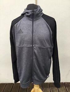 Superb ADIDAS Raglan Style Black & Grey Hoodie - Mens Large