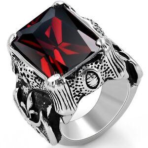 Vintage Black Stainless Steel Mens Fleur de Lis Dragon Claw Ring Square Red CZ