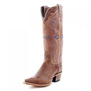 Nocona NL5300 Tan Crackle Goat Ladies Western Cowboy Cowgirl Boots Women's