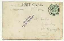 1910 POSTED ON LA MARGUERITE 2/LINE VIOLET CACHET RP POSTCARD OF VESSEL AT SEA