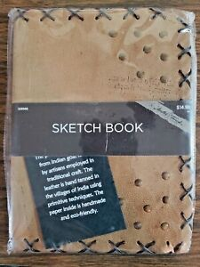"""Master's Touch Sketch Book Journal Leather Acid free Handmade 5 1/4x7x1"""" NEW"""