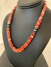 Native American Navajo Pearls Red Spiny Oyster  Sterling Silver Necklace 745 Gif