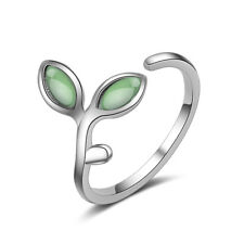 Womens Ladies Elegant Solid 925 Sterling Silver Green Opal Leaf Band Ring Size 7