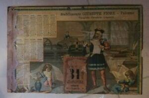 CALENDARIO 1892 STABILIMENTO GIUSEPPE FIORE PALERMO ILLUSTRATO