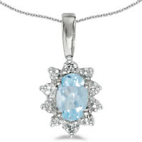"10k White Gold Oval Aquamarine And Diamond Pendant with 18"" Chain"