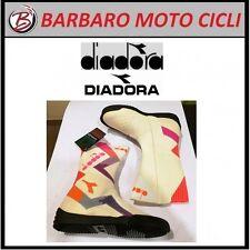 10862150564b3 STIVALE MOTO STRADA DIADORA VINTAGE IN PELLE COLORE BIANCO ARANCIO MISURA 40