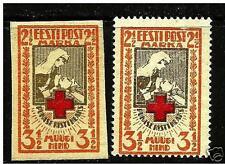 Estonia ,Estland 1921 Roter Kreuz , Red Cross Mi29 A ,29 B + IMPERFORATED MNH