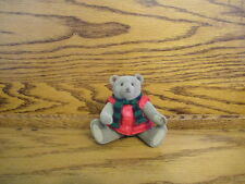 "VINTAGE 4"" FLOCKED JOINTED BEAR RED VEST STRIPE SCARF COLLECTIBLES KEEPSAKES"