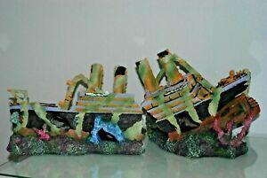 EXTRA LARGE - TITANIC SHIPWRECK - 2 PART Aquarium Ornament - boat ruin cave hide