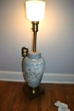 Stunning Vintage Marbro Brass and ceramic Art Painting table lamp