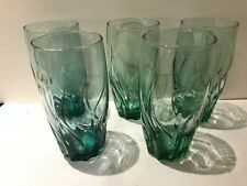 Anchor Hocking Central Park Fern Green 5 Iced Tea Glasses / Tumblers