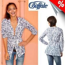 BUFFALO Tunika-Bluse mit Bindegürtel, weiß-blau. Gr. 38. NEU!!! KP 44,99 €