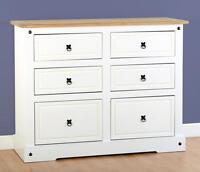 Corona Pine White 6 Drawer Chest Storage Cabinet Home Bedroom Mexican Furniture